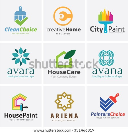 Real Estate Logo collection,Home logo,house logo,house painting logo,hotel and boutique hotel logo,Vector Logo template - stock vector
