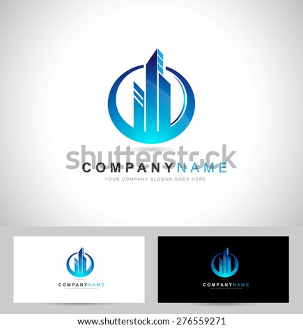 Real Estate Logo / Corporate blue Concept Real estate logo - stock vector