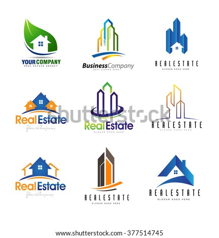 Real Estate Logo Design Set. Creative abstract real estate icons. - stock vector