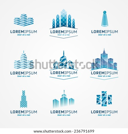 Real estate logo set. Vector icon pack. - stock vector