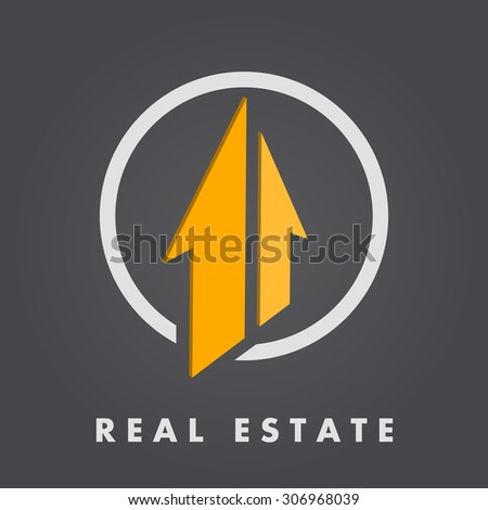 Real estate logo template, 3d vector on dark gradient background, eps 8 - stock vector