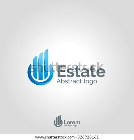 Real Estate logo template on white background. Corporate branding identity - stock vector