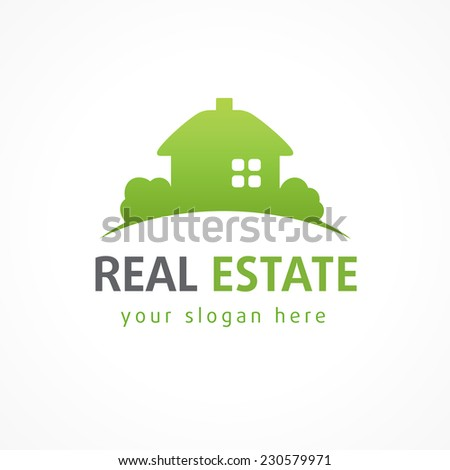 Real estate logo village green. House icon. Vector business sign.