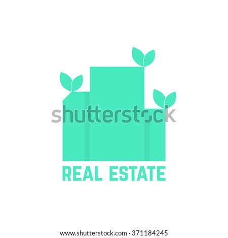real estate logo with leafs. concept of luxury, hostel, factory, urban mansion, elite residence, visual identity. isolated on white background. flat style trend modern brand design vector illustration - stock vector