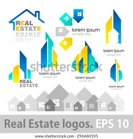 Real Estate logos set. vector illustration logos for Real Estate companies. simple symbols and signs.  real estate design - stock vector