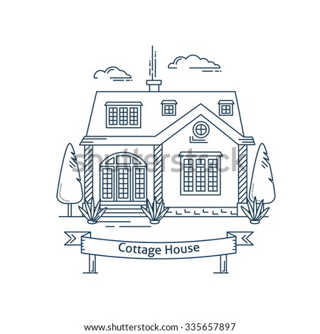 Real Estate Market Concept Flat Line Vector Architecture Design Outlined Stroke Icon Cottage Countryside