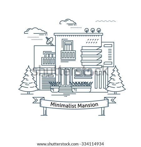 Real Estate Market Concept Flat Line Vector Architecture Design Outlined Stroke Icon Modern Minimalist