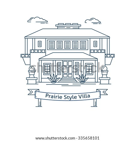 Real estate market concept flat line vector architecture design. Outlined stroke icon. Prairie style house. Property investment. For poster, flyer, web, banner, header, hero image, motion design - stock vector