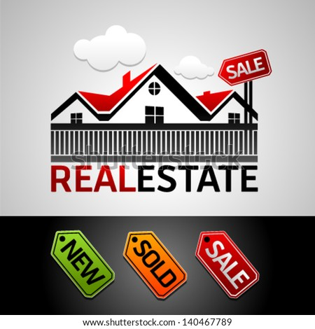 Real estate, new, sale, sold, vector icon. Graphic Design Editable For Your Design. - stock vector