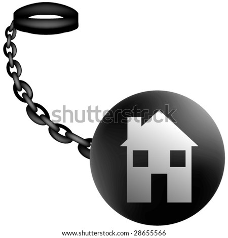 Real Estate on Ball and Chain Vector,Concept for heavy debt load. - stock vector