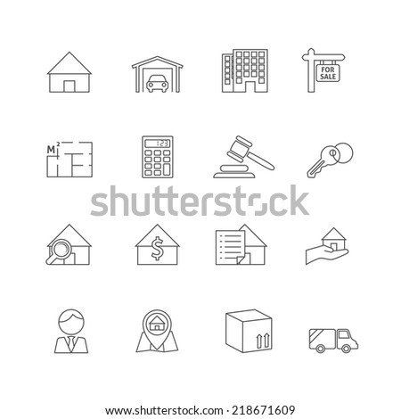 Real estate outline icons set of commercial property business isolated vector illustration - stock vector