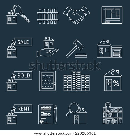 Real estate outline icons set of house apartment and commercial property isolated vector illustration - stock vector