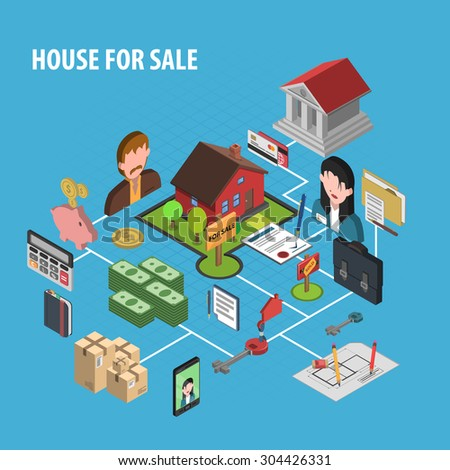 Real estate sale concept with isometric realtors figures vector illustration - stock vector