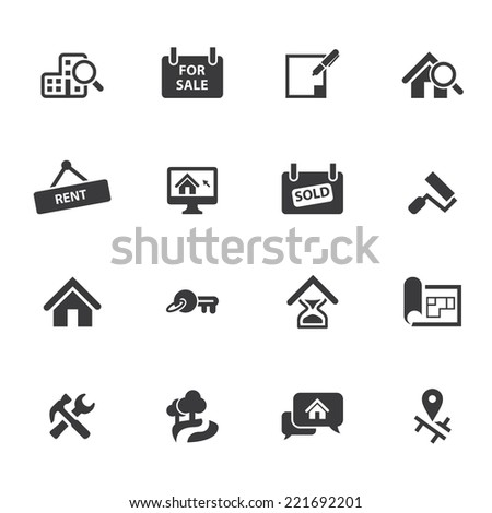 Real Estate Silhouette icons - stock vector