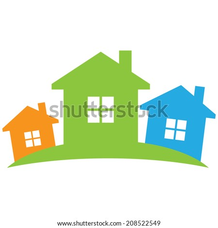 Real estate symbolical image isolated on white background. - stock vector