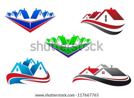 Real estate symbols - roofs and houses elements, also a logo idea. Jpeg version also available in gallery - stock vector
