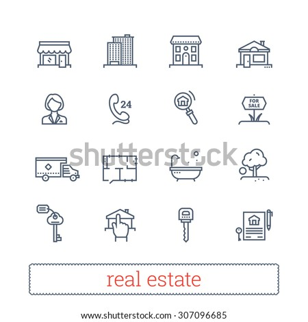 Real estate thin line icons. Vector set of leasing, renting, buying and selling realty signs. - stock vector