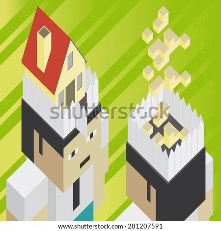 Real estate thinking Illustration of the concept of  two businessmen thinking about buying or build a house, in isometric old video game style. The grunge texture is removable from the background. - stock vector