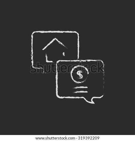 Real estate transaction hand drawn in chalk on a blackboard vector white icon isolated on a black background. - stock vector