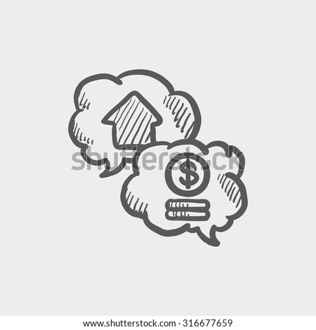 Real estate transaction sketch icon for web, mobile and infographics. Hand drawn vector dark grey icon isolated on light grey background. - stock vector