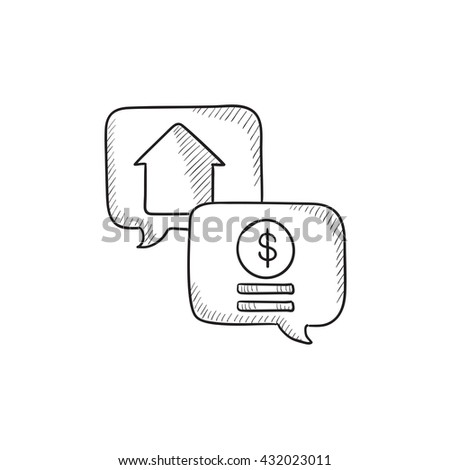 Real estate transaction vector sketch icon isolated on background. Hand drawn Real estate transaction icon. Real estate transaction sketch icon for infographic, website or app. - stock vector