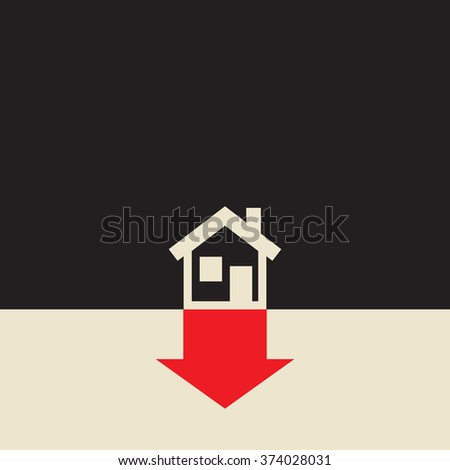 real estate value is going down due to  falling home prices   - stock vector