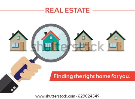Real estate vector illustration. Find your dream house depicted through  magnifying glass.