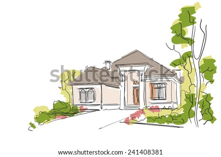 Real Estate Vector Illustration. House Freehand Drawing on White Background. - stock vector