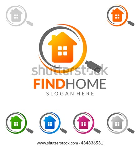 Real estate vector logo design, simple realty with line, magnifying glass, magnifier, and roof represented strong, location,searching and modern real estate - stock vector