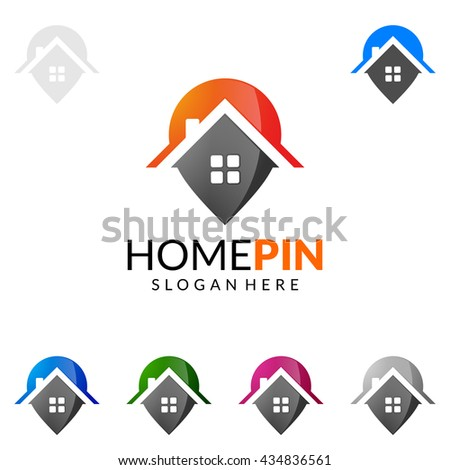 Real estate vector logo design, simple realty with pin and house represented strong, location,searching and modern real estate - stock vector
