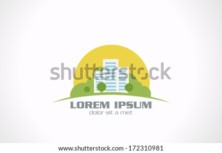 Real Estate vector logo design template. Realty creative concept icon. Three Buildings with green trees & grass over rising sun. - stock vector