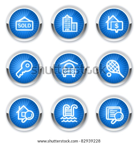 Real estate web icons, blue buttons - stock vector