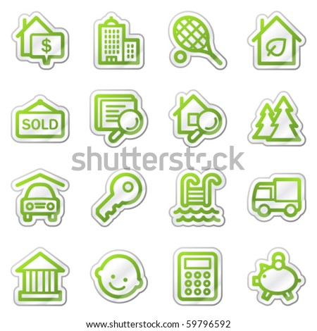 Real estate web icons, green sticker series