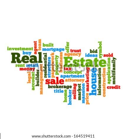 Real Estate Word Cloud Stock Vector 164519411 - Shutterstock