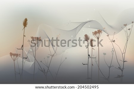 Real grass silhouette, meadow during summertime - vector - stock vector