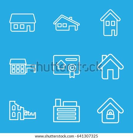 construction contract icons real estate buying selling renting signs stock vector 674294524