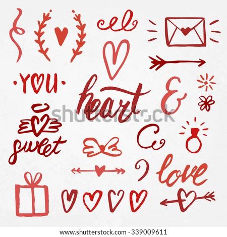 Real ink hand drawn Love elements for your design. Romantic decoration set. Cute Ink collection with Hearts, Envelope, Ampersand, Hearts, Arrows, Swooshes and modern Calligraphy elements. - stock vector