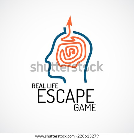 Real life escape quest game logo template - stock vector