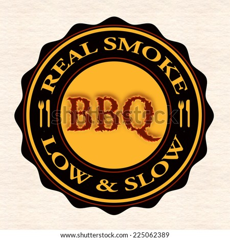real smoke bbq grunge stamp with on vector illustration - stock vector