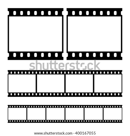 Real vector film strip - straight. Insulated windows - you can create variable long straight film strip. Eps 10 vector file.  - stock vector