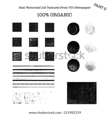 Real vectorized black traced ink textures from 70's newspaper 2 - stock vector