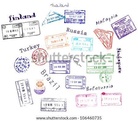 Real visa stamps from 9 countries. Vector illustration EPS8 - stock vector