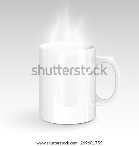 Realisctic white mug with steam, vector - stock vector