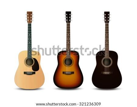 Realistic acoustic guitars. Vector set - stock vector