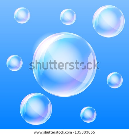 Realistic air bubbles in the water. Vector illustration.