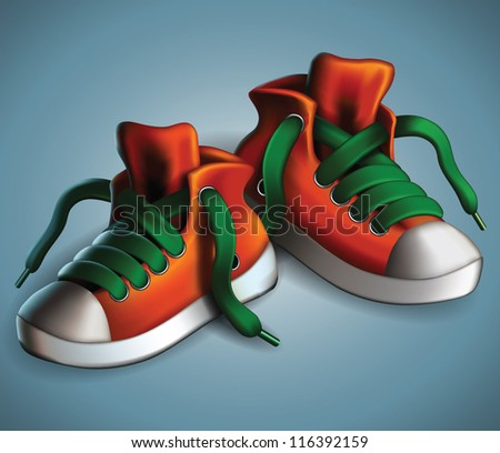 Realistic and detailed sneakers isolated - vector illustration. - stock vector