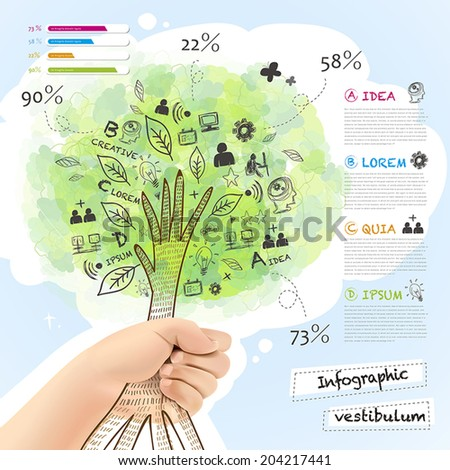 realistic and hand  drawn style vector infographic with a tree grabbed by hand - stock vector
