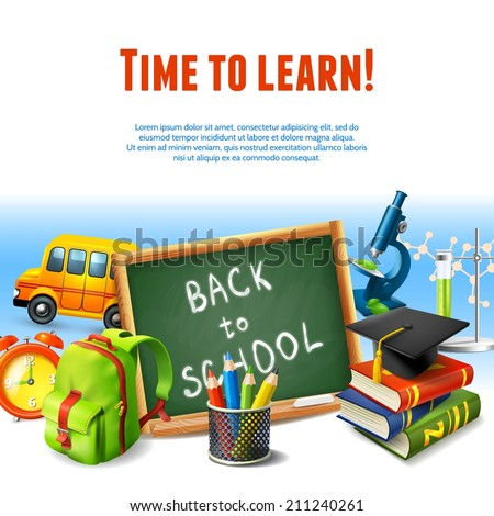Realistic back to school rime to learn border template with education icons vector illustration. - stock vector