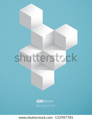 Realistic background with white cubes - stock vector