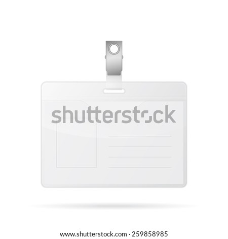Realistic badge template, identification card. Isolated on white. Vector EPS10 illustration.